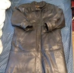 Eddie bauer leather long coat